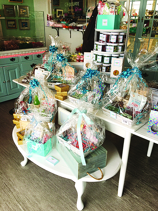 wrapped candy gift baskets