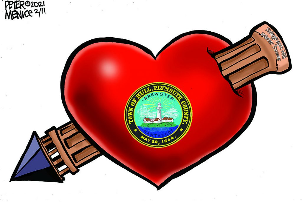 Cartoon drawing of a red heart speared by the fort revere water town with the town of hull emblem on the front of the heart. Cartoon drawn by Peter Menice