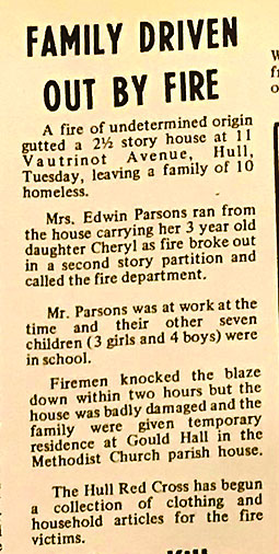 50 year old article describing The Parson Family Fire