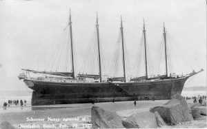 HULL'S MOST FAMOUS SHIPWRECK. The five-masted schooner Nancy ran aground on Nantasket Beach during an unusually high tide in the winter of 1927, where she remained stuck in the sand for years. [Courtesy photos]