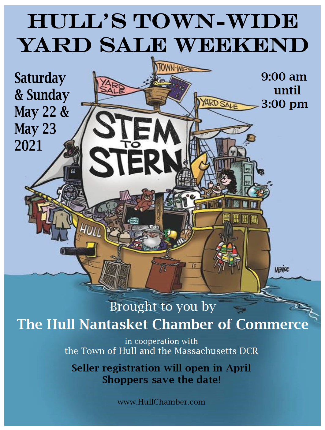 cartoon advertisement for hull ma town wide yard sale