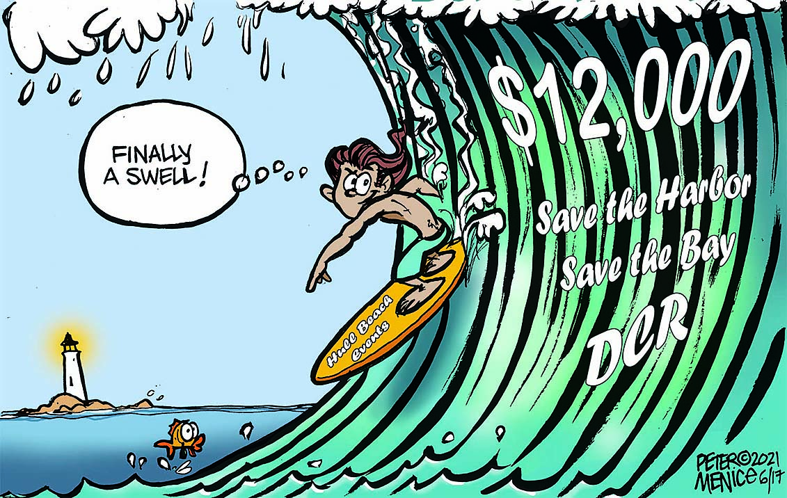 """Peter Menice Cartoon Save The Harbor Save the Bay DCR $12000 guy on a surfboard, surfing a big way that says """"Finally A Swell!"""""""