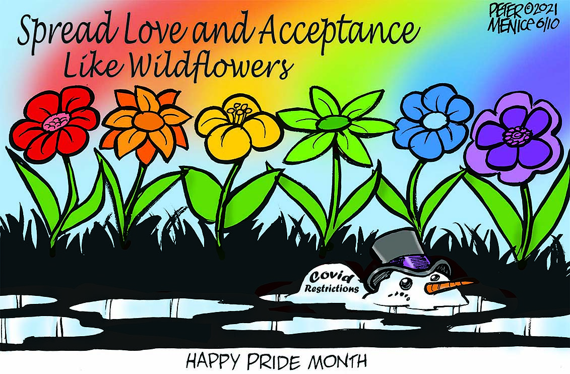 Happy Pride Month cartoon that says Spread love and acceptance like wildflowers