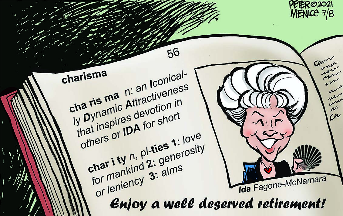 """A drawing of ida fagone-mcnamara next to the word """"charisma"""" in the dictionary and the caption """"enjoy a well deserved retirement"""" at the bottom of the page"""