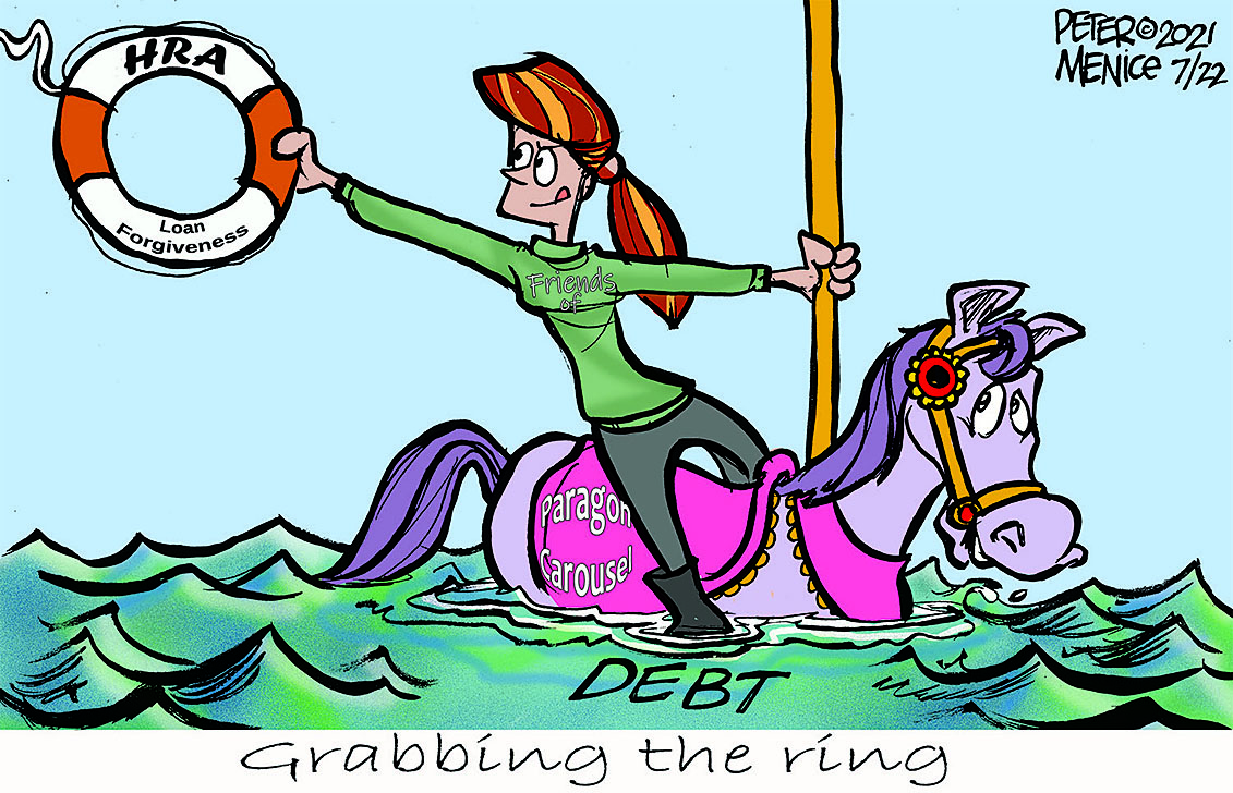 """lady riding carousel horse that is up to its neck in water symbolizing water and someone holding out a life preserver that has """"HRA"""" written on it."""