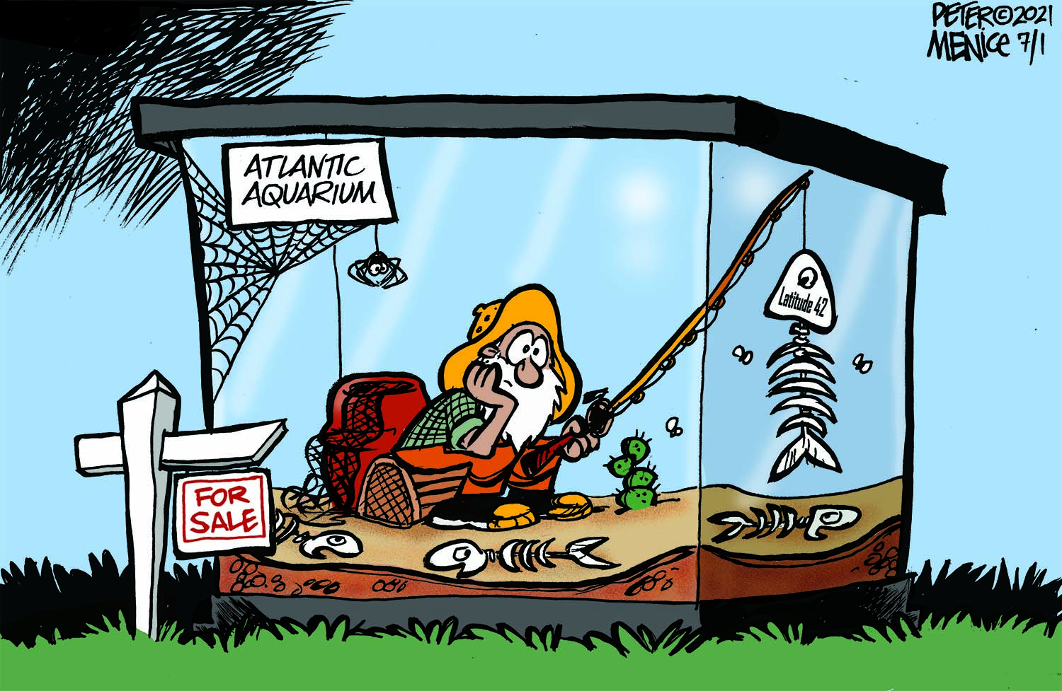 Cartoon of man in life size fish taking fishing with a dead fish bone skeleton on his fishing book that says latitude 42 on the side