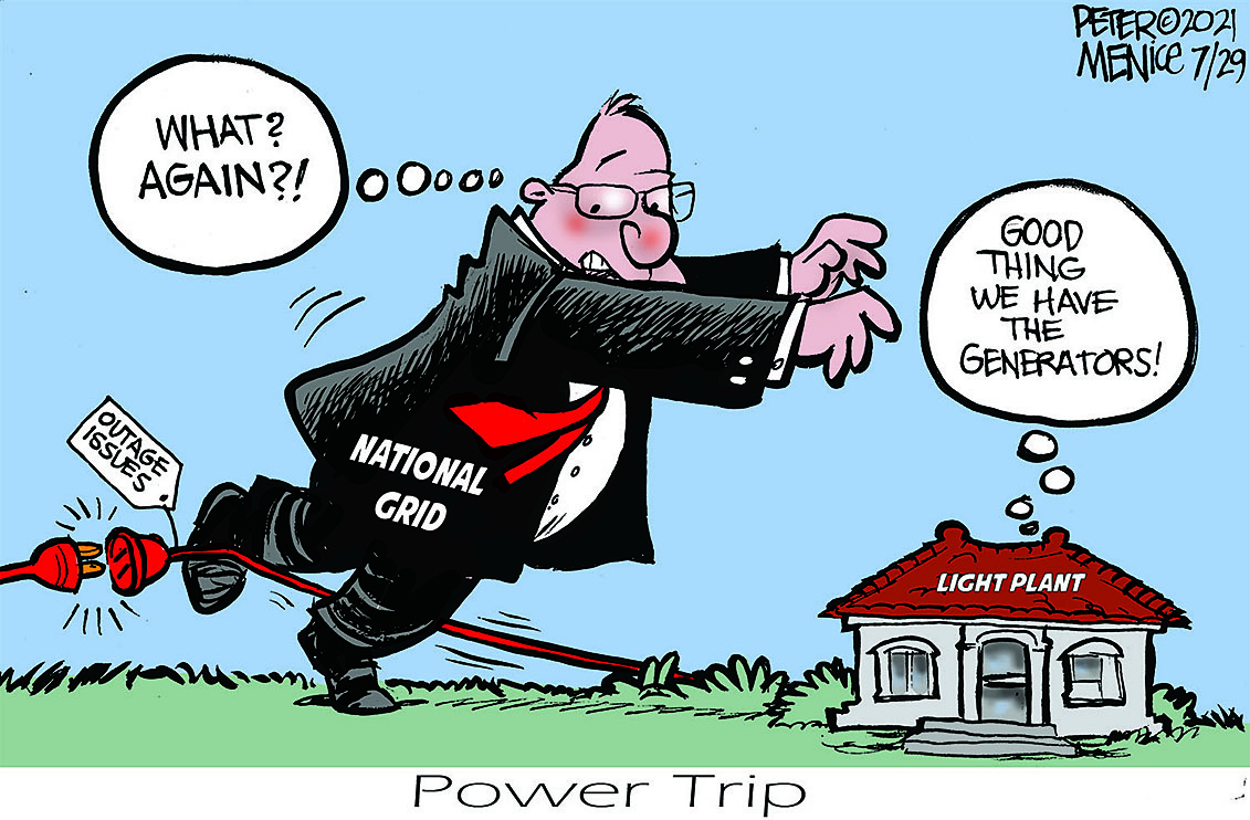 cartoon of man tripping over power wire and falling on the hull light office