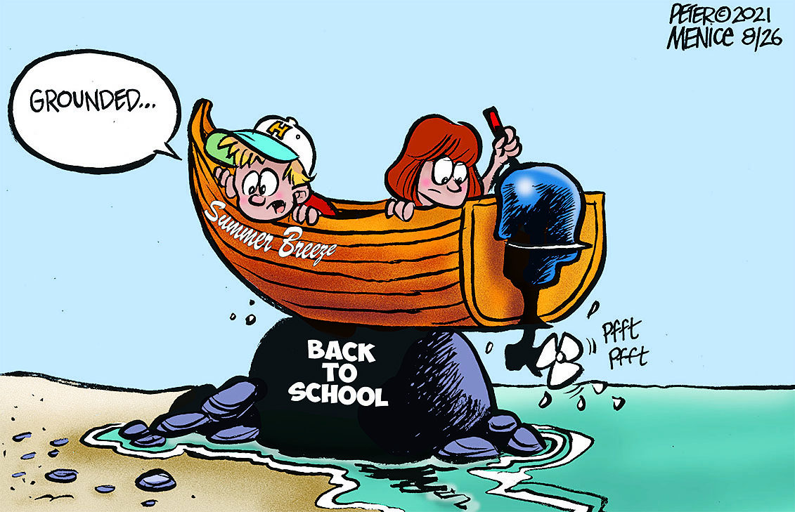 back to school rock with boat sitting on the top with two kids in it, this is a cartoon