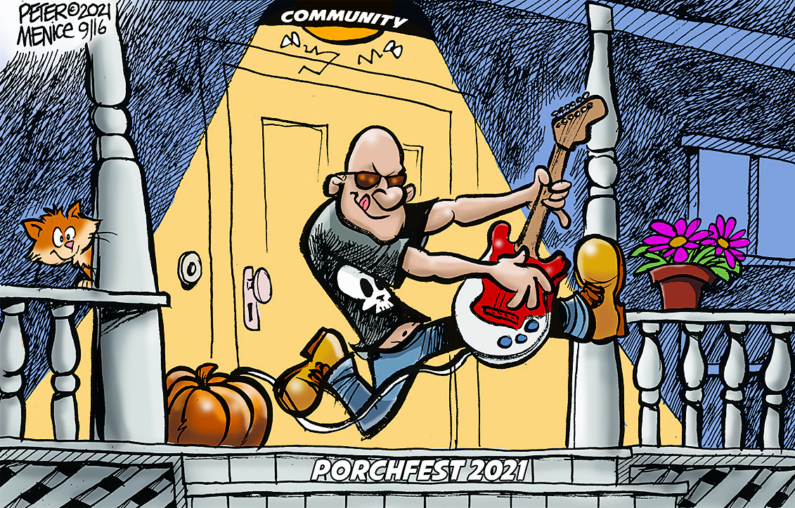 Cartoon of bald man rocking out with a red guitar on a wooden front porch next to a pumpkin